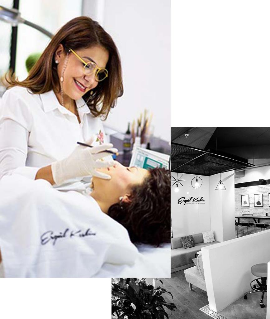 Güzellik uygulaması yaptıran bir kadına işlem uygulayan Ergül Keskin ve Ergül Keskin Conture Make up Studio'nun iç mekan görüntüsünden oluşan fotoğraf kolajı