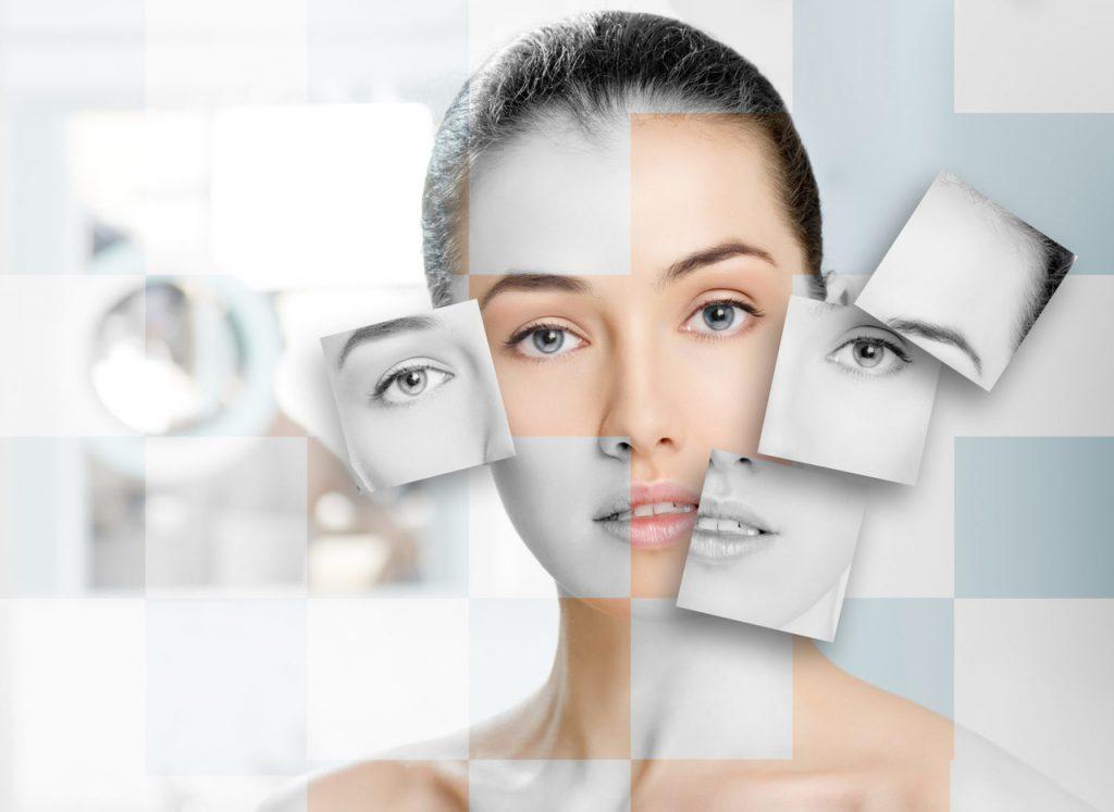Makyajsız doğal haliyle objektife bakan kadın ve kadının yüzünden alınan siyah beyaz kesiterle oluşturulmuş kolajlar