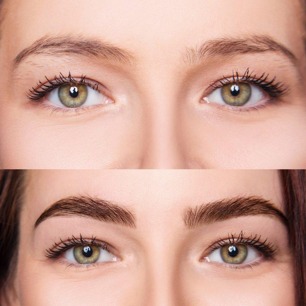 Seyrek görünümlü kaşlarına kaş kontür yaptıran kadının uygulamadan önceki ve sonraki halini gösteren iki fotoğraf karşılaştırması